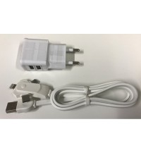 3 in 1 kabel + 220v Duo USB adapter